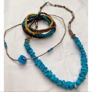 Jewelry - BOGO Turquoise Necklaces & Wood Bracelets